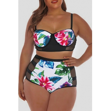 Lovely Striped Black Plus Size Two-piece Swimsuit