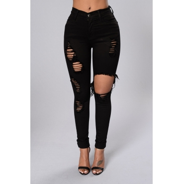 Lovely Trendy Hollow-out Black Jeans