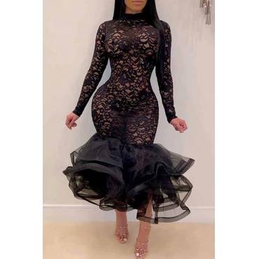 Lovely Casual Flounce Black Ankle Length Trumpet Mermaid Dress