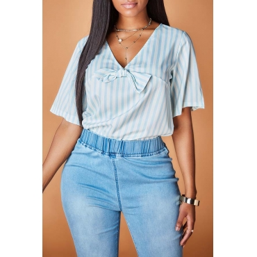 Lovely Casual Striped Blue Blouse