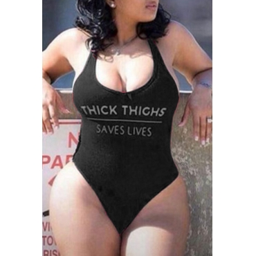 Lovely Letter Print Black Plus Size One-piece Swimsuit
