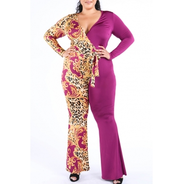 Lovely Bohemian V Neck Print Rose Red Plus Size One-piece Jumpsuit