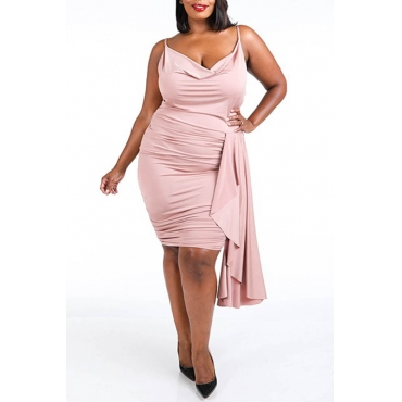Lovely Chic Fold Design Light Pink Knee Length Plus Size Dress