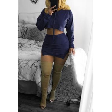 Lovely Trendy Hooded Collar Dark Blue Two-piece Skirt Set
