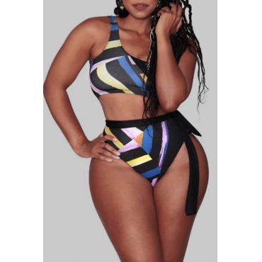 Lovely Print Multicolor Plus Size Two-piece Swimsuit