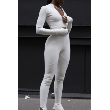 Lovely Casual Skinny White One-piece Jumpsuit