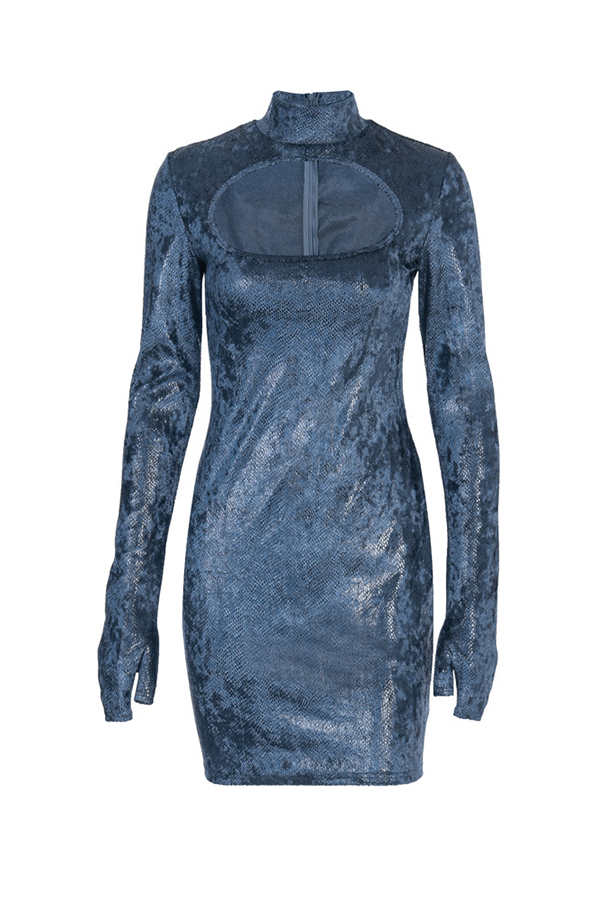 Lovely Casual Turtleneck Hollow-out Blue Mini Dress