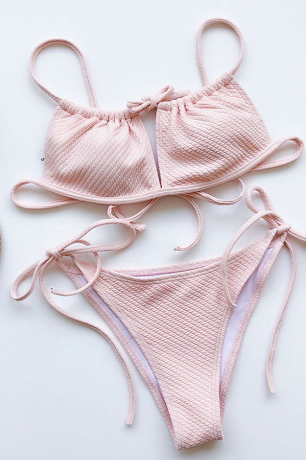Lovely Lace-up Light Pink Two-piece Swimsuit