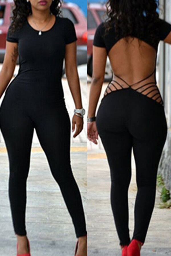 Lovely Chic Backless Black One-piece Jumpsuit