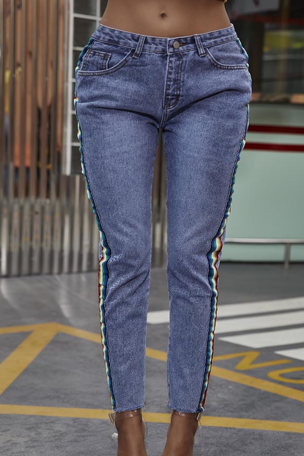 Jeans Lovely Casual Striped Blue Jeans