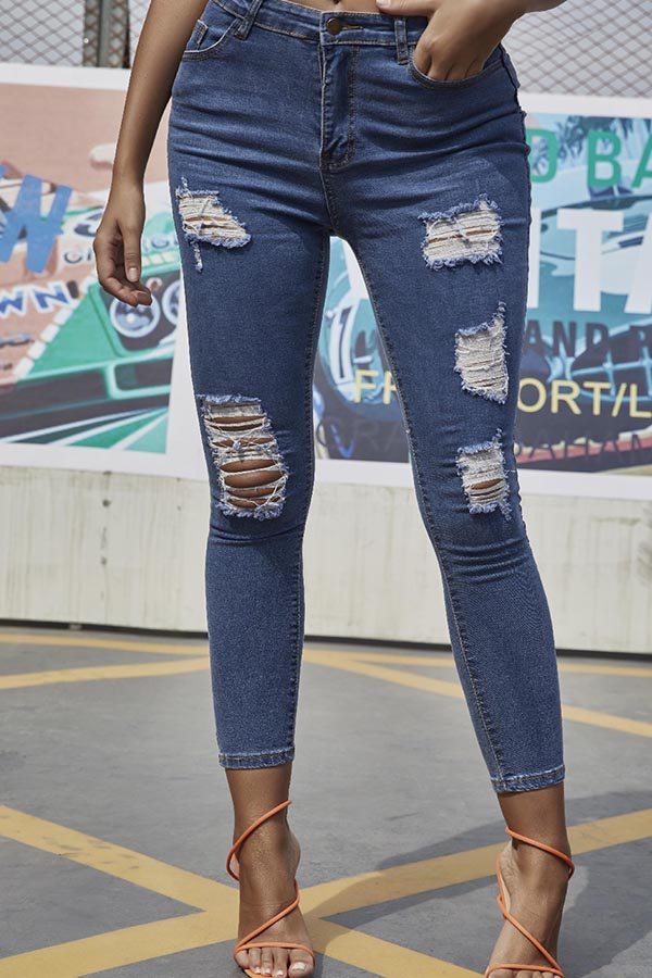 Jeans Lovely Casual Broken Hole Blue Jeans