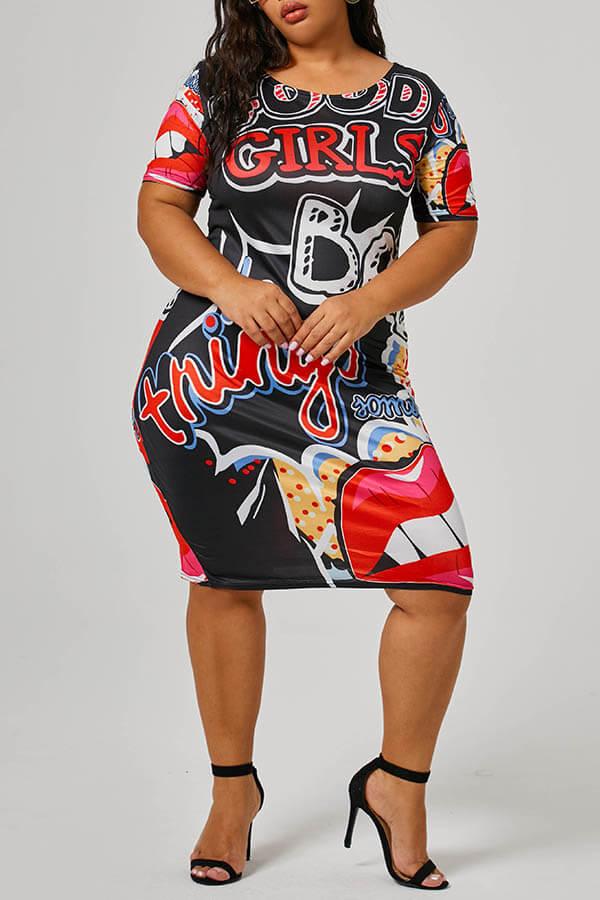 Lovely Casual Print Black Knee Length Plus Size Dress