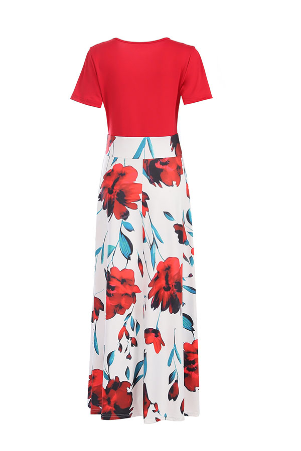 Lovely Casual Floral Print White Maxi Dress