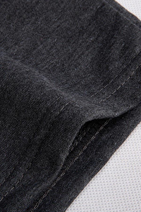 Lovely Trendy Print Black Tow-piece Shorts Set