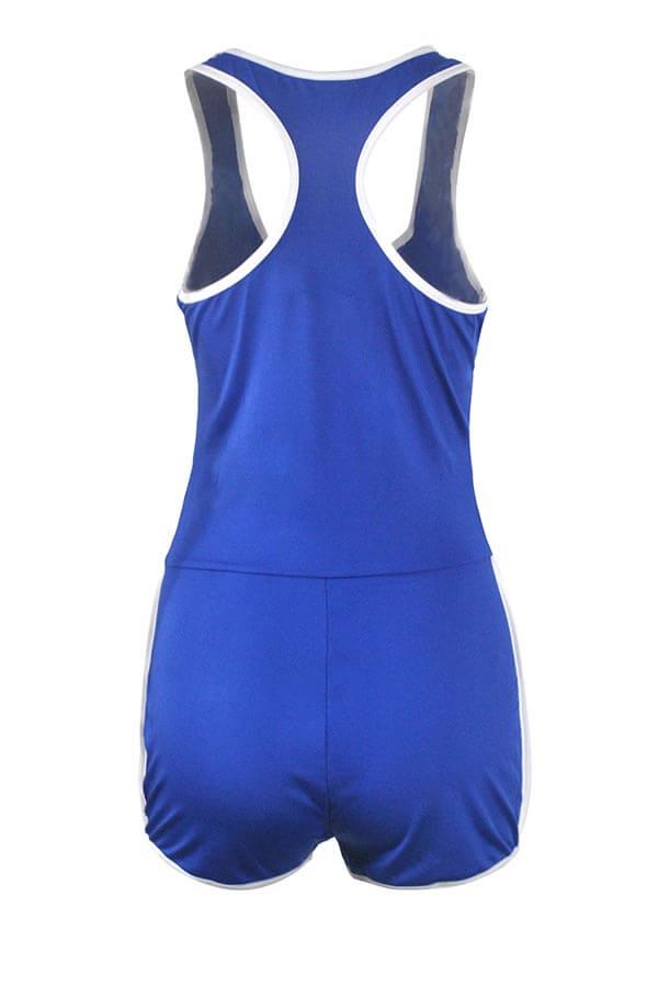Lovely Casual Patchwork Blue Sportswear One-piece Romper
