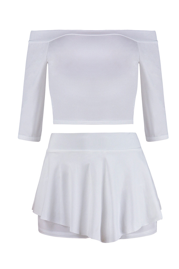 Lovely Casual Flounce Design White Two-piece Shorts Set