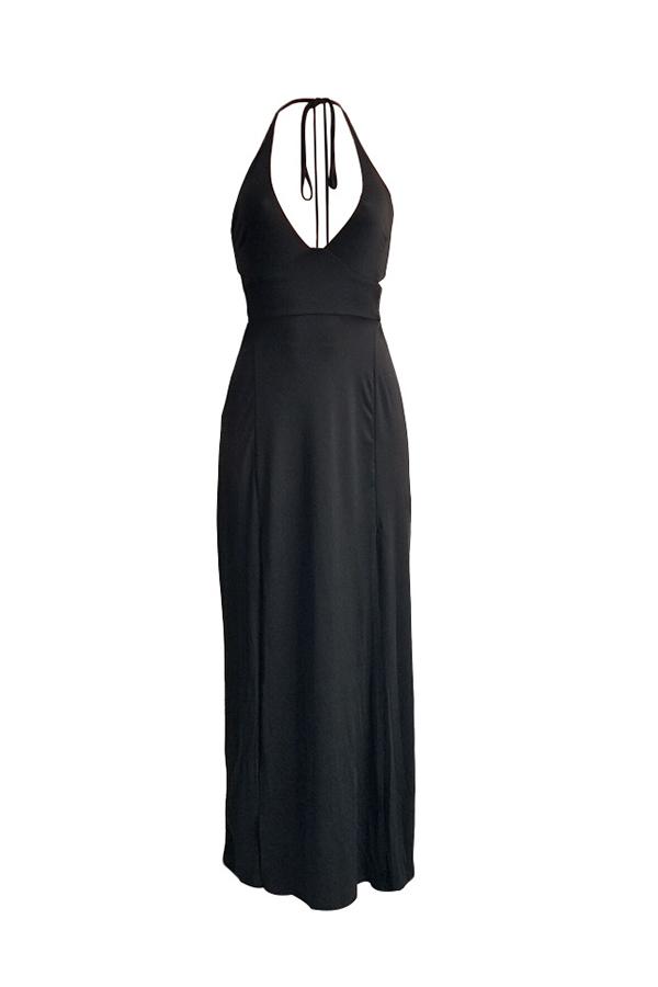 Lovely Casual Halter Backless Black Maxi Dress