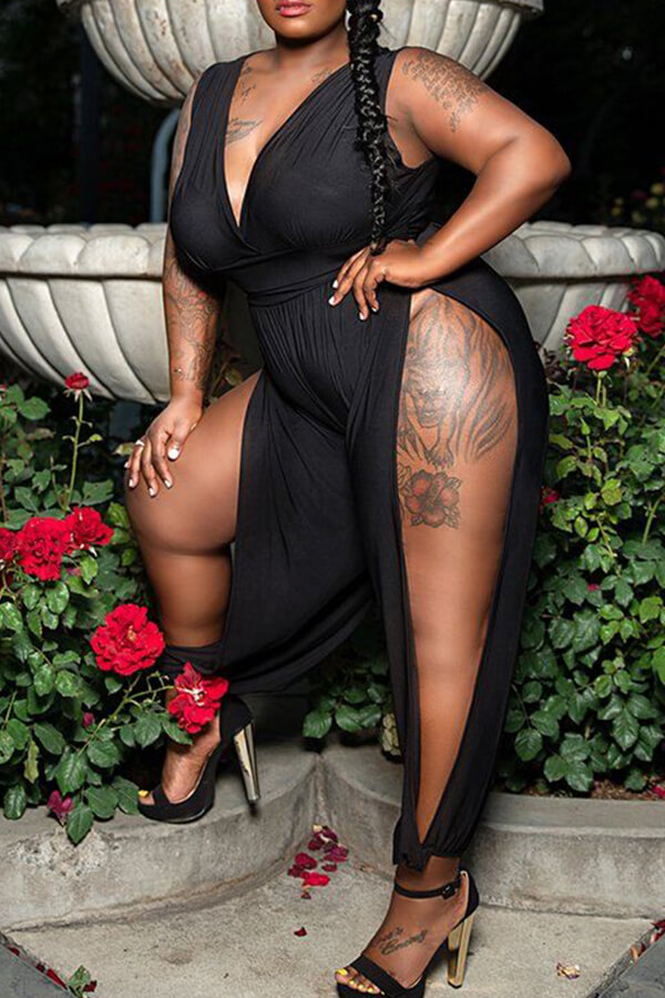 Plus Size Jumpsuit Lovely Trendy Side High Slit Black Plus Size One-piece Jumpsuit фото