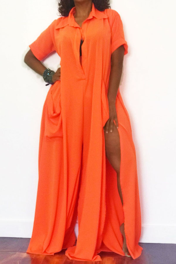 Lovely Casual Side High Slit Croci One-piece Jumpsuit