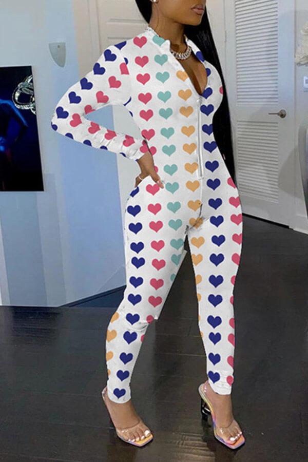 Lovely Leisure Zipper Design Multicolor One-piece Jumpsuit