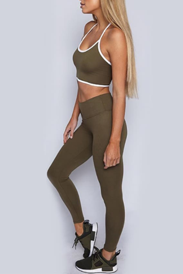 Lovely Casual Basic Skinny Green Two-piece Pants Set