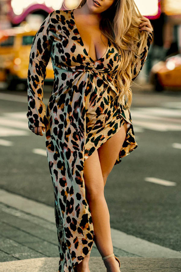 Lovely Casual Leopard Print Coffee Maxi Plus Size Dress