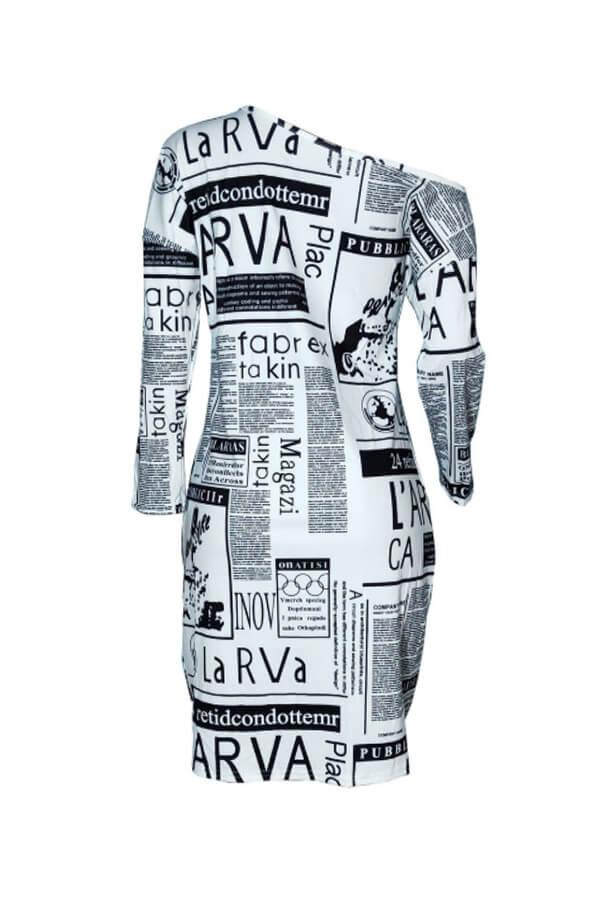 Lovely Casual Print White Knee Length Dress