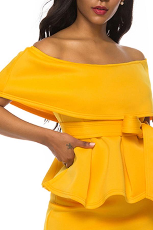 Lovely Trendy Flounce Design Yellow Blouse
