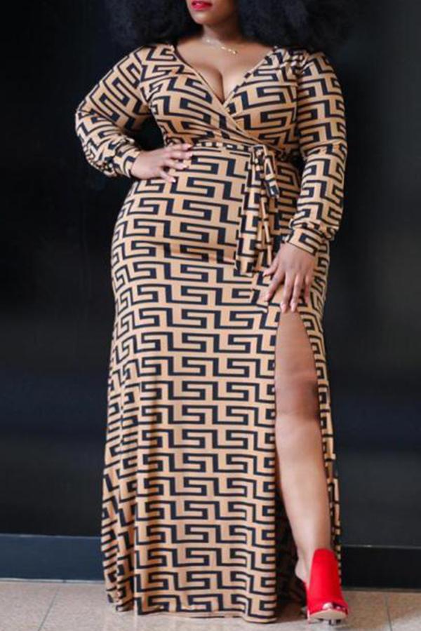 Lovely Leisure Print Dark Coffee Ankle Length Plus Size Dress