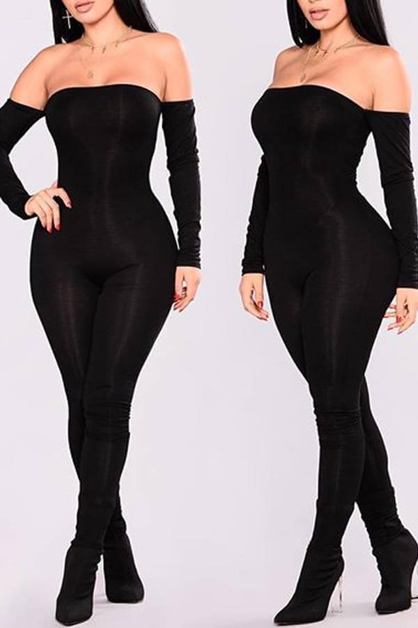 Lovely Stylish Dew Shoulder Black One-piece Jumpsuit