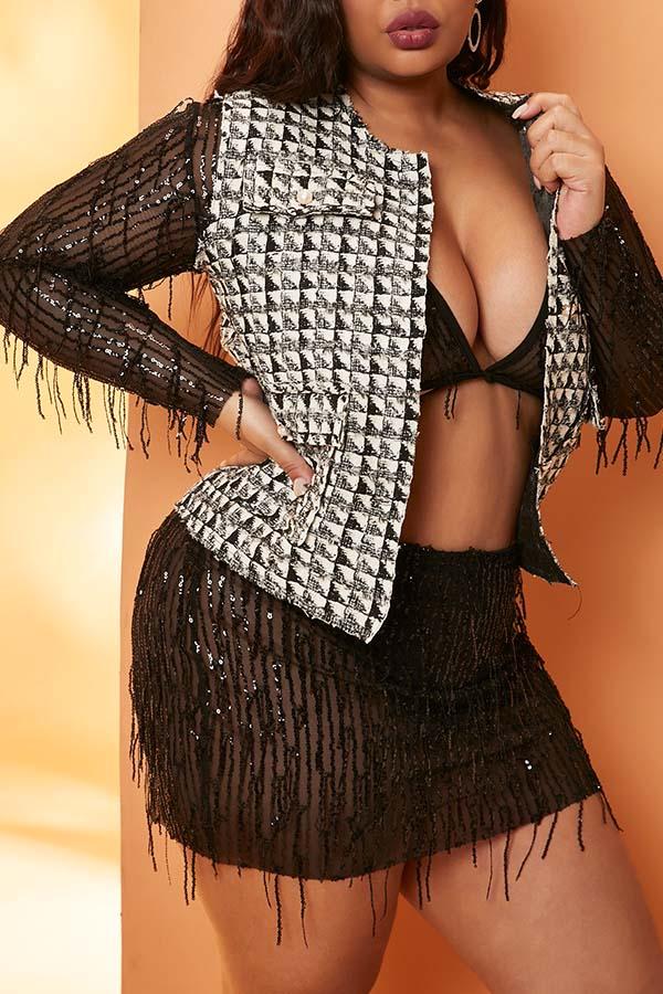 Lovely Casual Grid Print Black Plus Size Vests