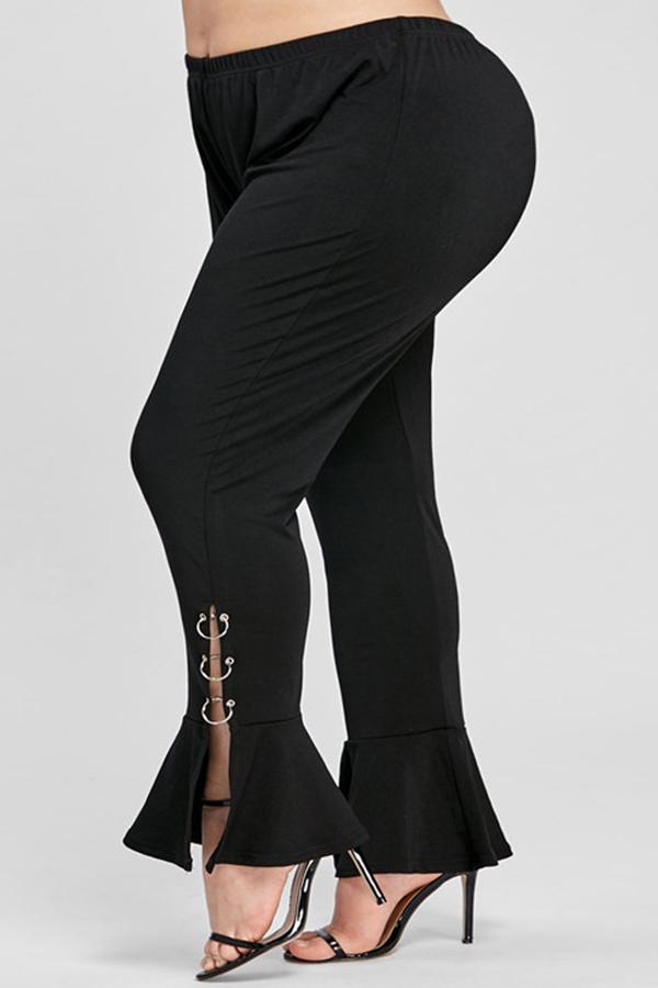 Lovely Trendy Flounce Design Black Plus Size Pants