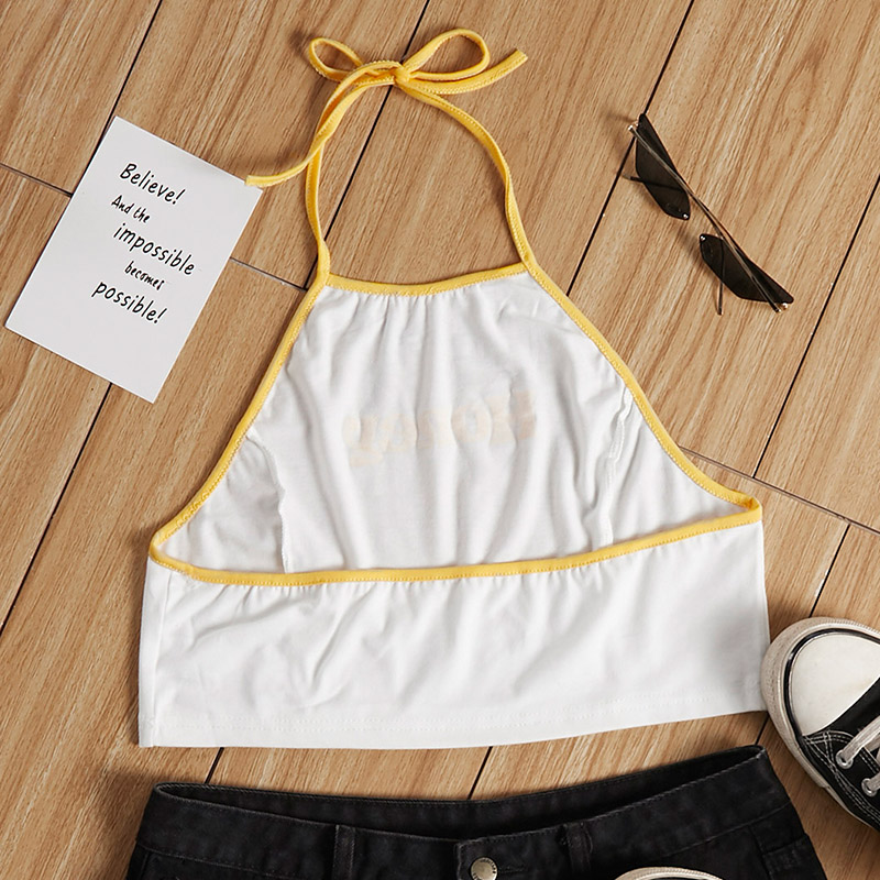 Lovely Casual Letter Print White Camisole