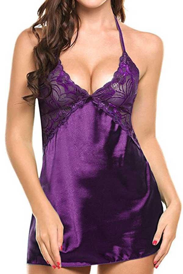 Lovely Sexy Lace Hem Purple Babydolls