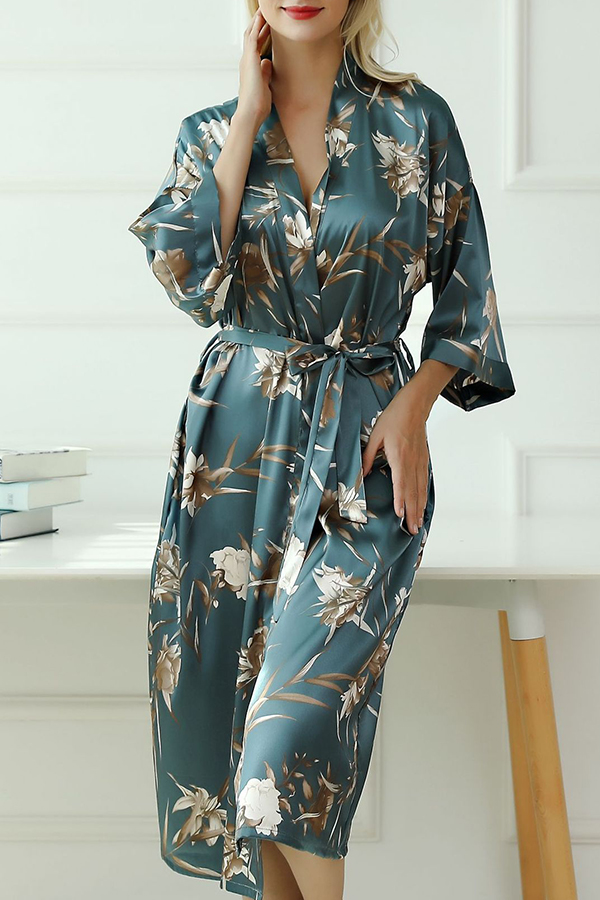 Lovely Casual Print Blue Sleepwear