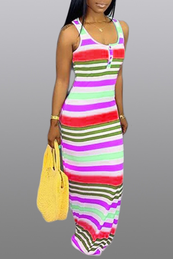 Lovely Leisure Striped Red Maxi Dress