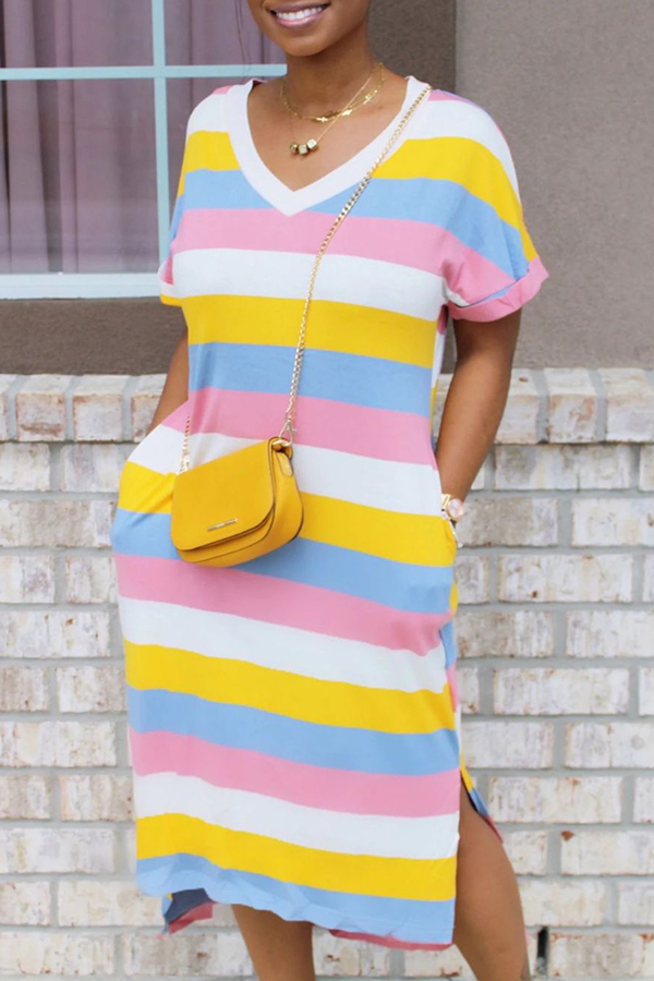 Lovely Leisure V Neck Striped Pink Mid Calf T-shirt Dress