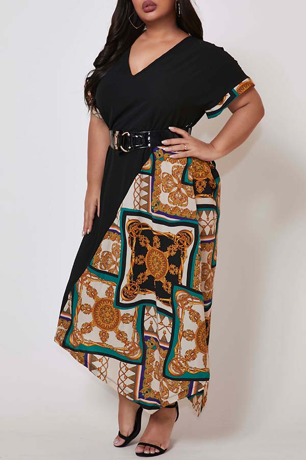 Lovely Trendy Patchwork Green Ankle Length Plus Size Dress