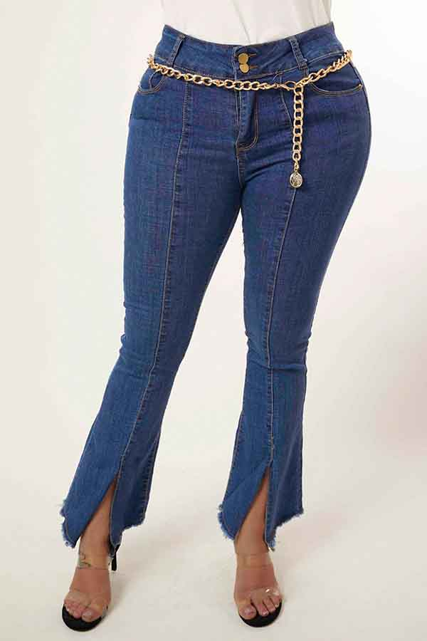 Lovely Trendy Buttons Design Blue Jeans