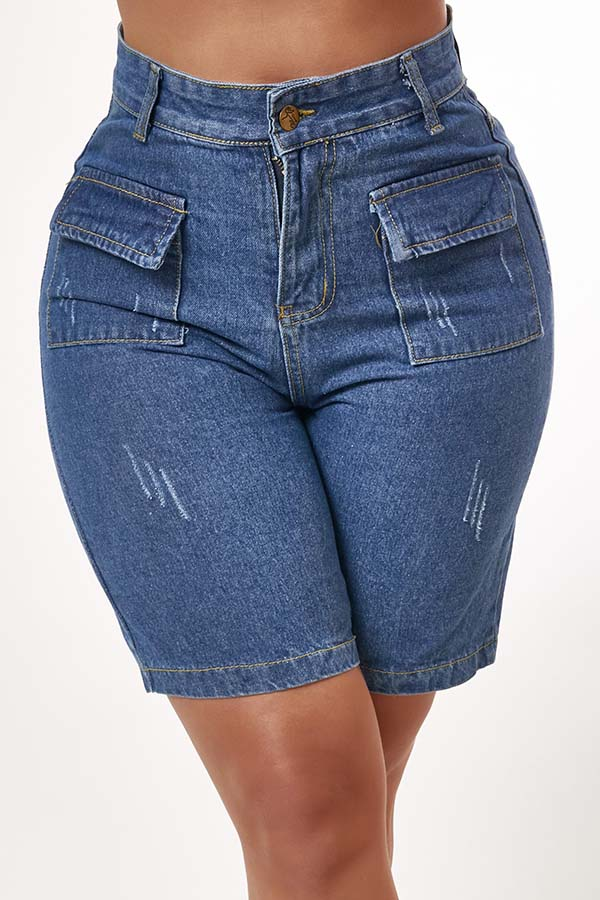 Lovely Casual Pocket Patched Blue Shorts