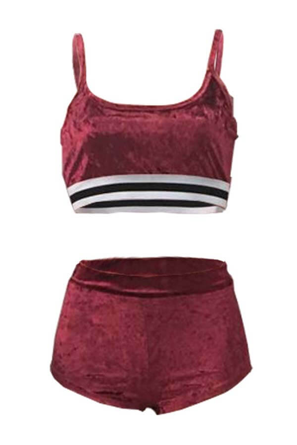 Lovely Sportswear Patchwork Wine Red Two-piece Shorts Set