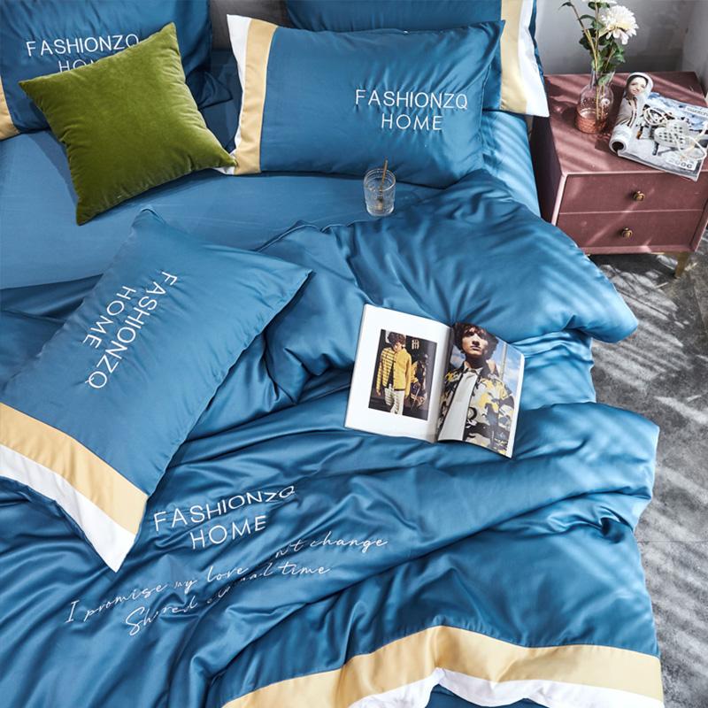 Lovely Cosy Letter Print Blue Bedding Set