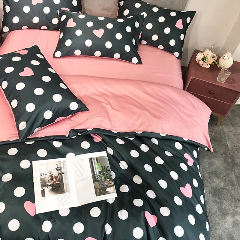 Lovely Cosy Dot Print Black Bedding Set