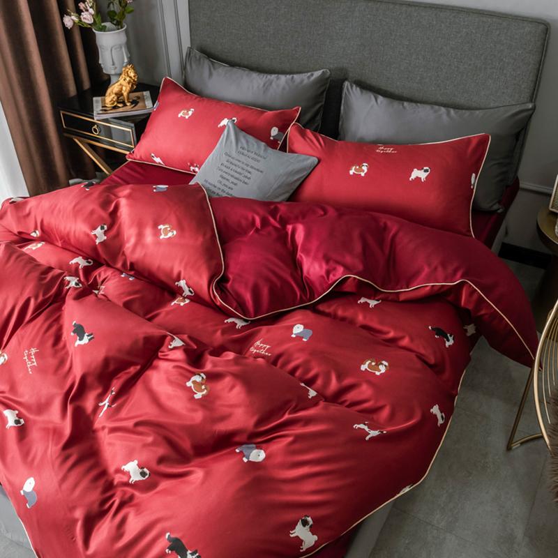 Lovely Trendy Print Bright Red Bedding Set