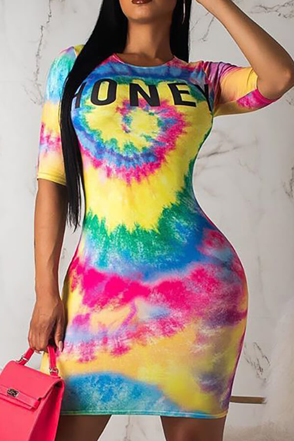 Lovely Casual Tie-dye Multicolor Mini T-shirt Dress