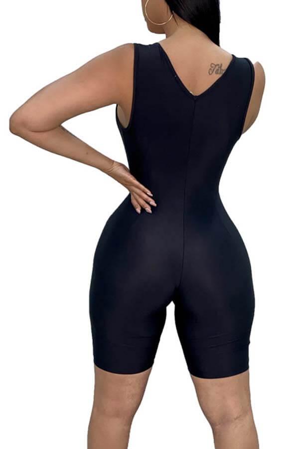 LW Sportswear Zipper Design Black One-piece Romper