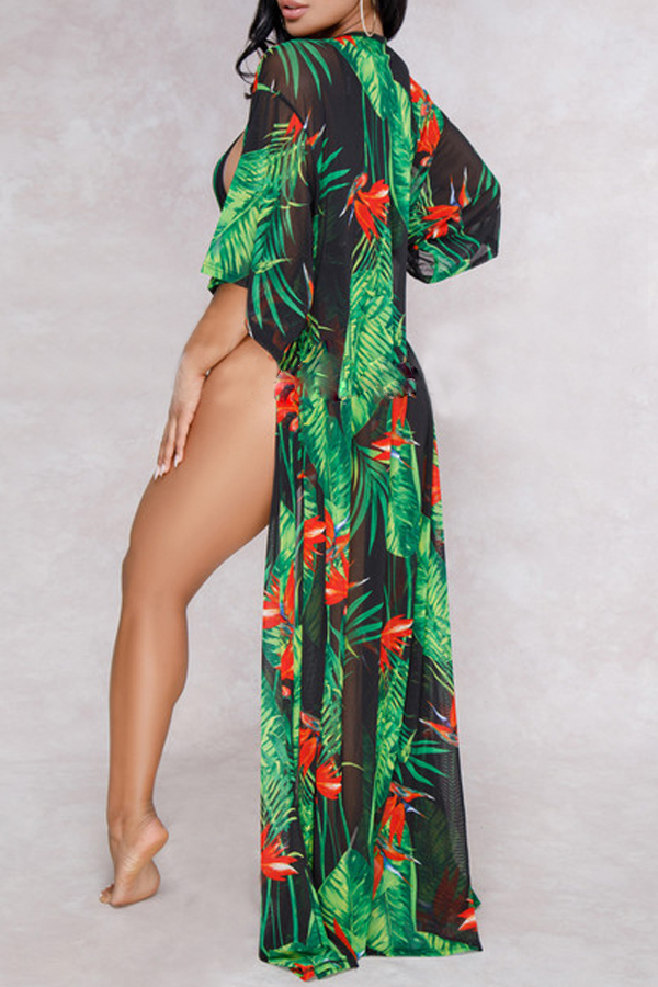 Lovely Print Black One-piece Swimsuit(With Cover-Up)