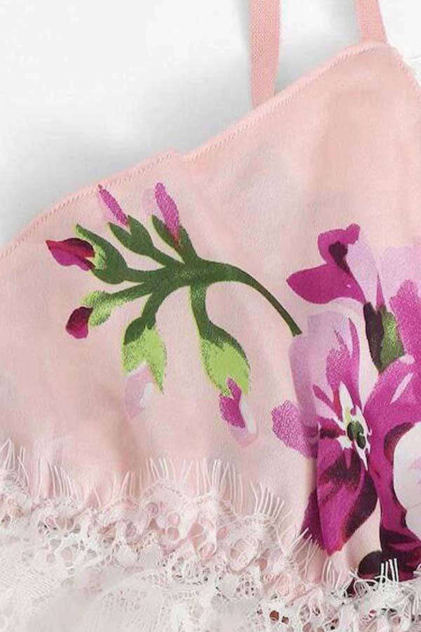 Lovely Sexy Print Pink Sleepwear
