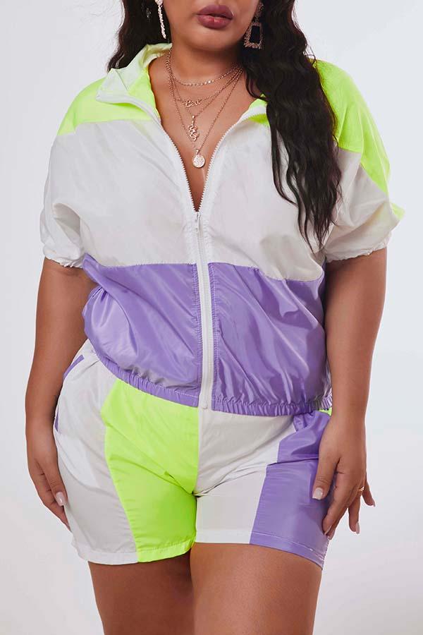 Lovely Leisure Patchwork Purple Plus Size Two-piece Shorts Set