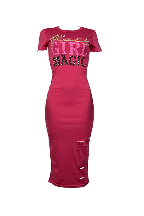 Lovely Casual O Neck Letter Print Rose Red Mid Calf T-shirt Dress